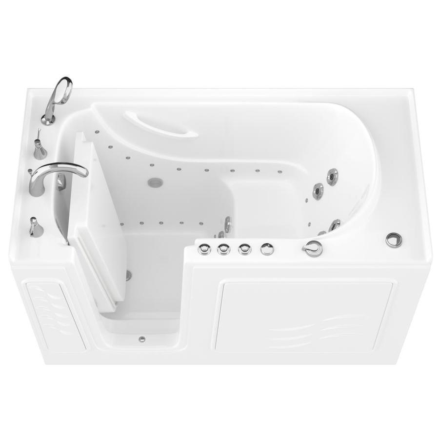 Endurance 60-in L x 30-in W x 38-in H White Gelcoat and Fiberglass Rectangular Walk-in Whirlpool Tub and Air Bath
