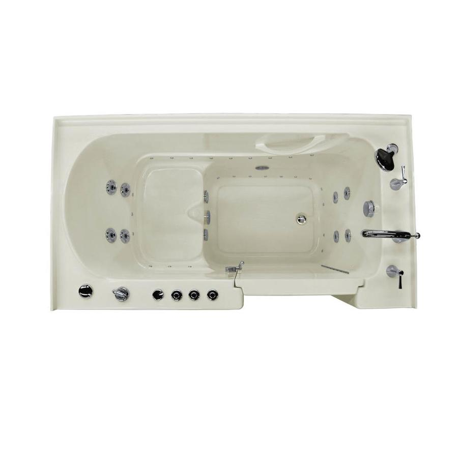 Endurance 60-in L x 32-in W x 40-in H Biscuit Acrylic Rectangular Walk-in Whirlpool Tub and Air Bath