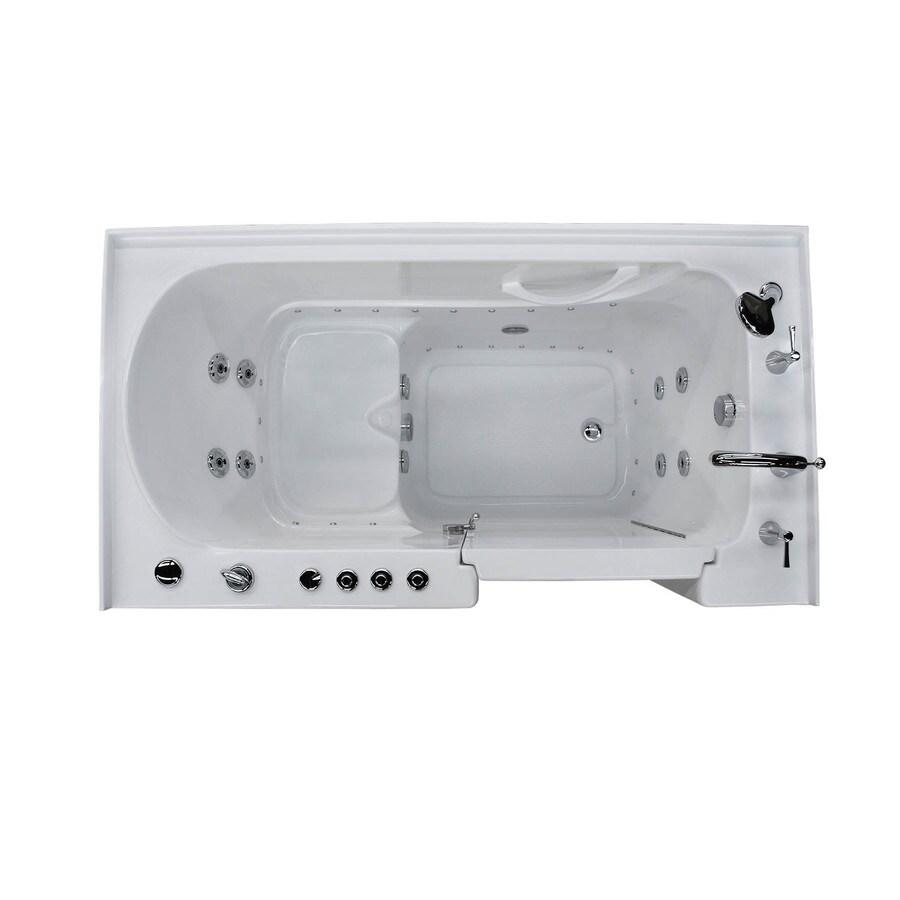 Endurance 60-in L x 32-in W x 40-in H White Acrylic Rectangular Walk-in Whirlpool Tub and Air Bath