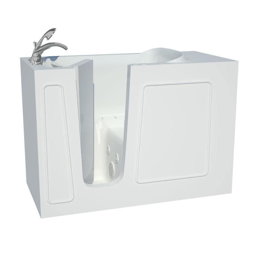 Endurance 53-in L x 27-in W x 38-in H White Gelcoat and Fiberglass Rectangular Walk-in Whirlpool Tub and Air Bath