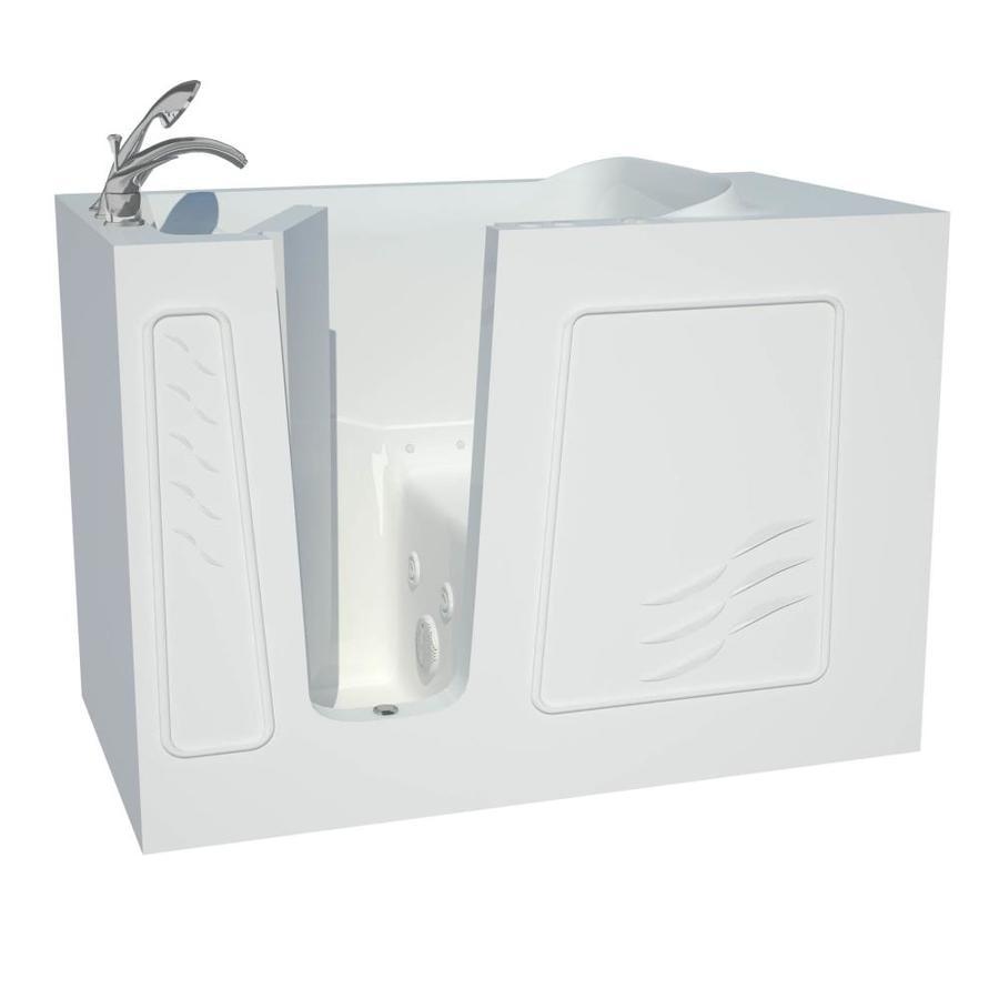 Endurance 53-in L x 30-in W x 38-in H White Gelcoat and Fiberglass Rectangular Walk-in Whirlpool Tub and Air Bath