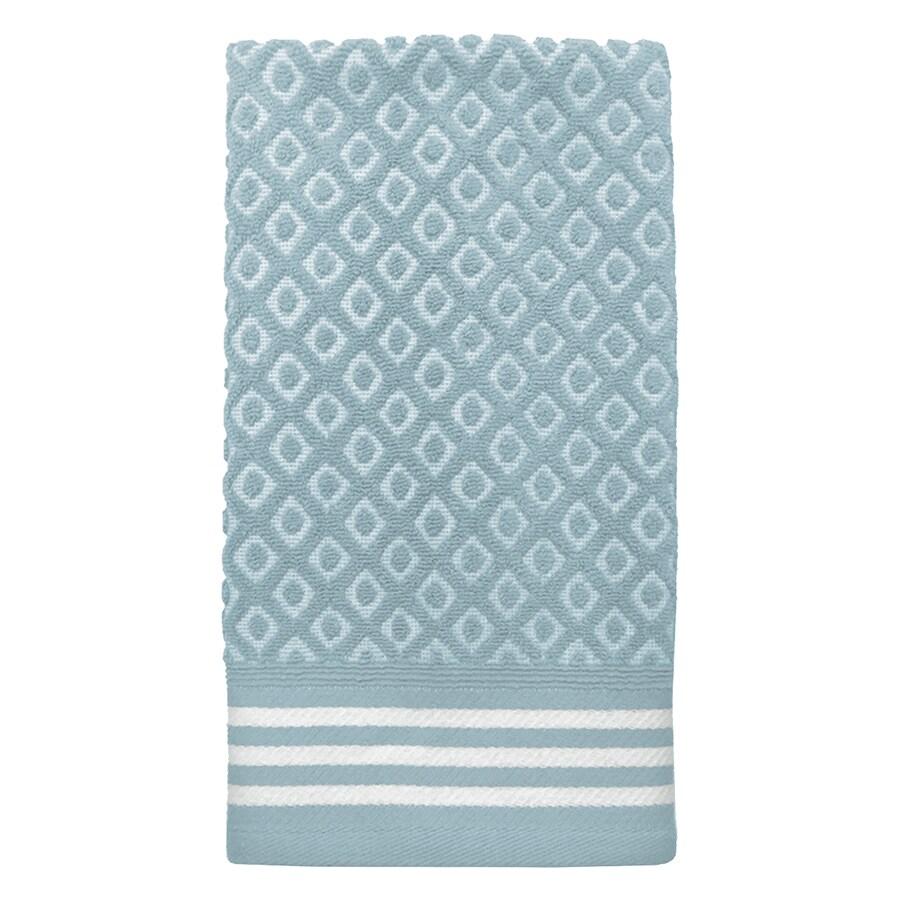 Colordrift Diamond 16-in x 26-in Aqua Cotton Hand Towel