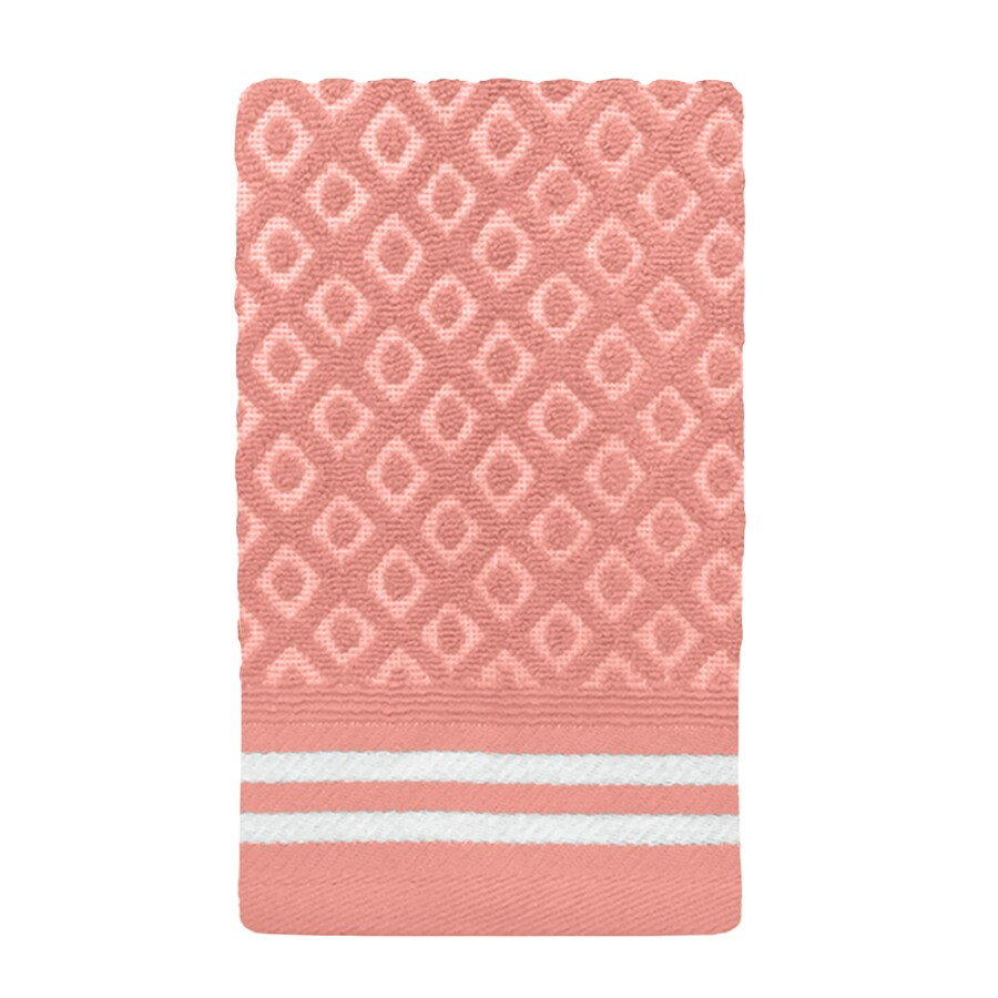 Colordrift Diamond 11-in x 18-in Coral Cotton Fingertip Towel