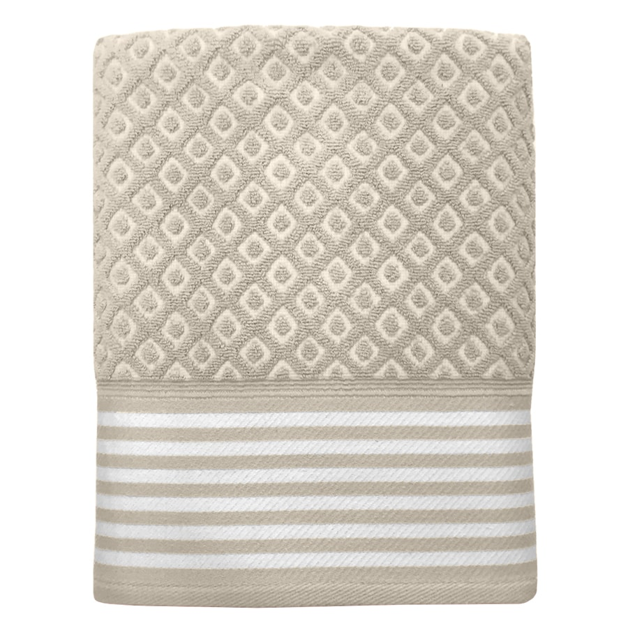Colordrift Diamond 27-in x 52-in Natural Cotton Bath Towel