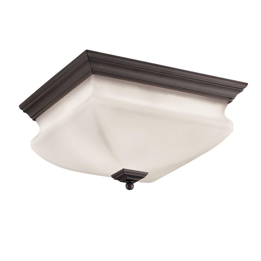 Portfolio 12.6-in W Bronze Ceiling Flush Mount Light