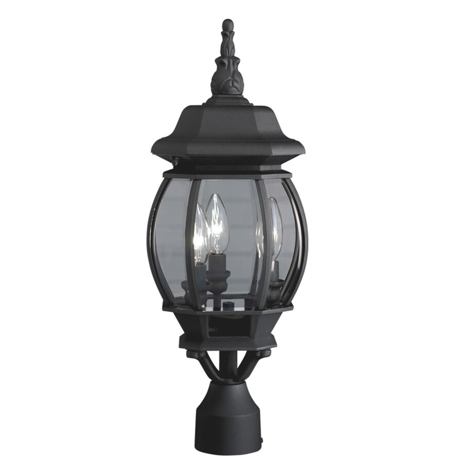 Shop portfolio 21 34 in h black post light at lowes com