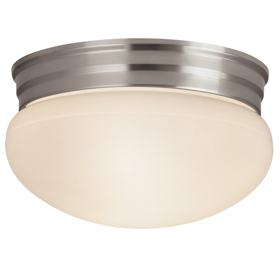 Project Source 9.25-in W Brushed Nickel Ceiling Flush Mount Light