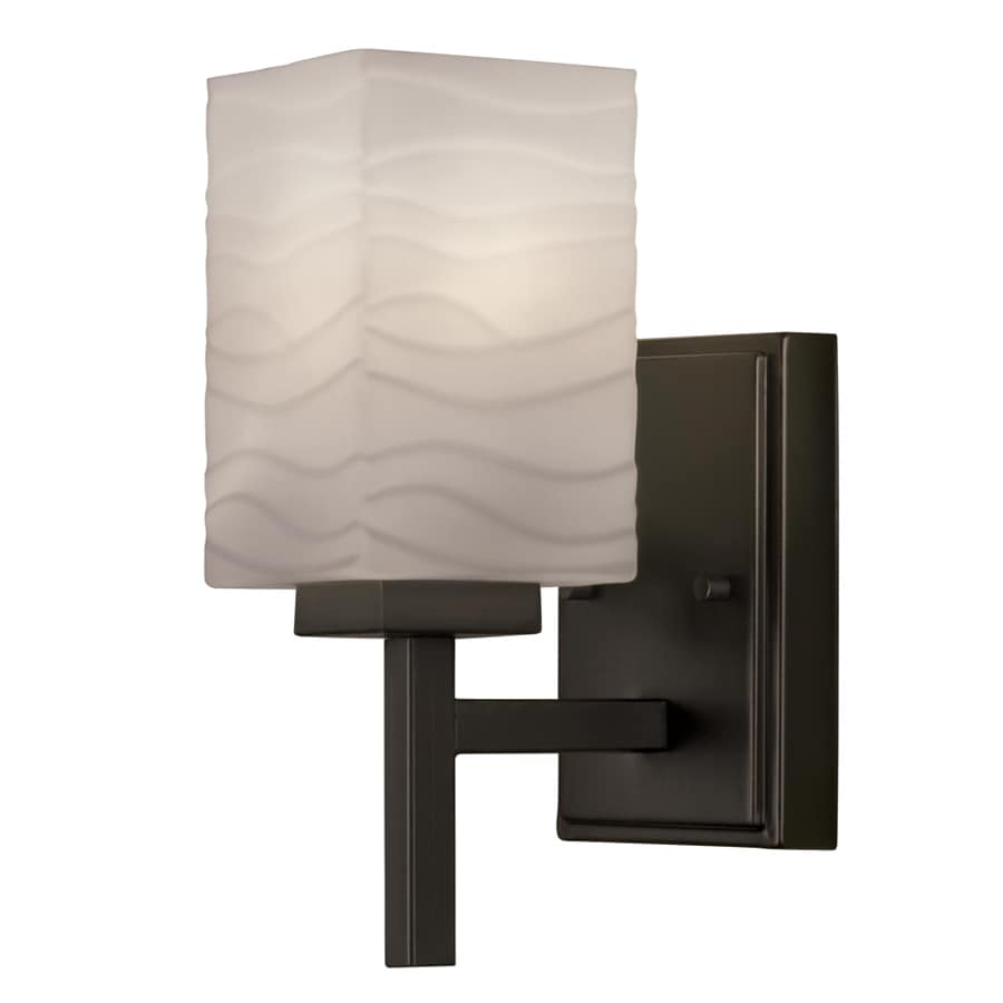 Portfolio 4.49-in W 1-Light Bronze Arm Hardwired Wall Sconce
