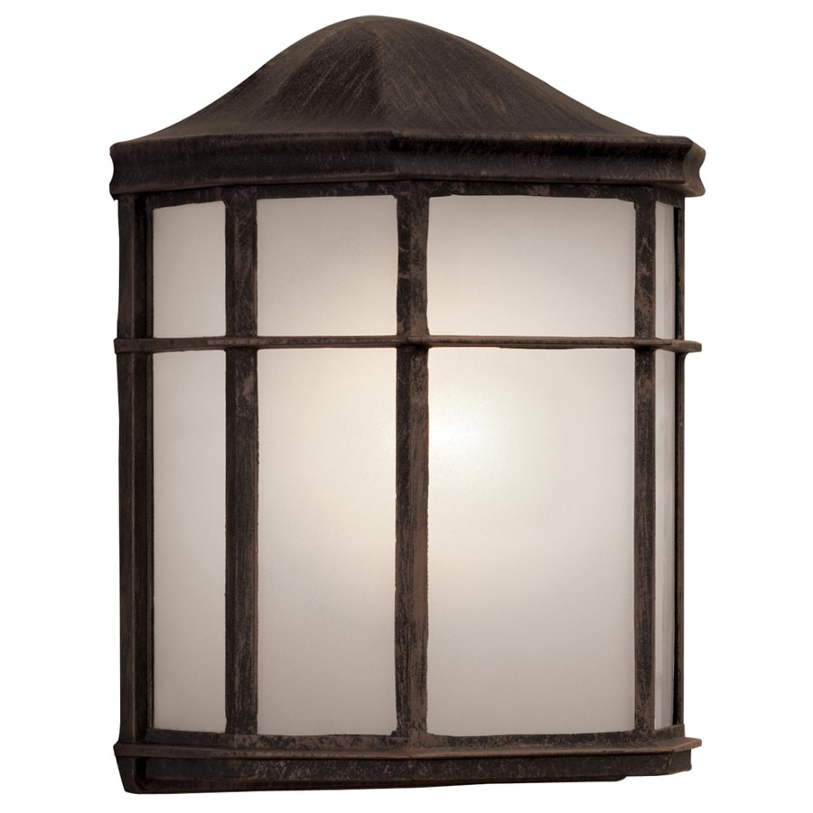 Portfolio 9.61-in H Rust Outdoor Wall Light