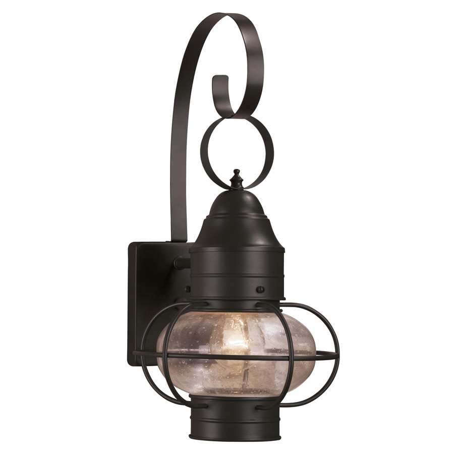 shop portfolio trevett 17 63 in h matte black outdoor wall light at lowes