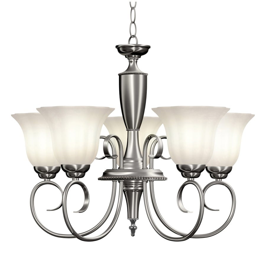 Portfolio Lillyburne 23.9-in 5-Light Brushed Nickel Standard Chandelier