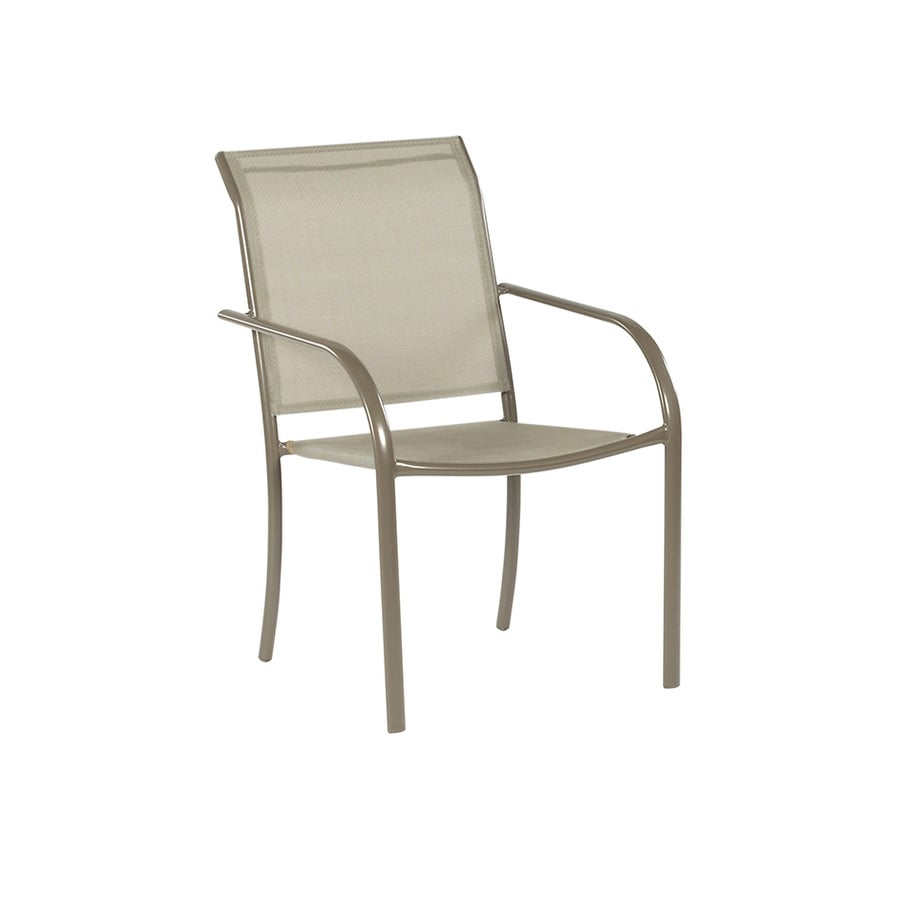 Garden Treasures Driscol Taupe Steel Stackable Patio Dining Chair With Dark Tan Sling Fabric