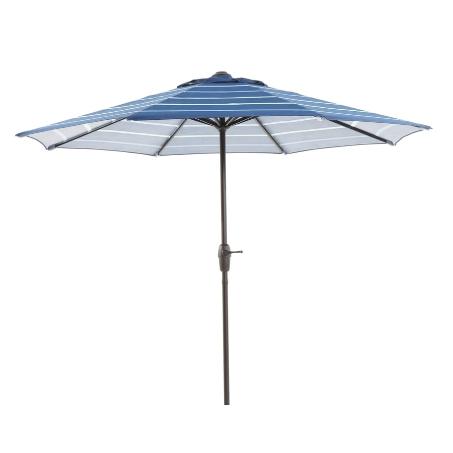 Shop garden treasures blue stripe market patio umbrella for Balcony umbrella