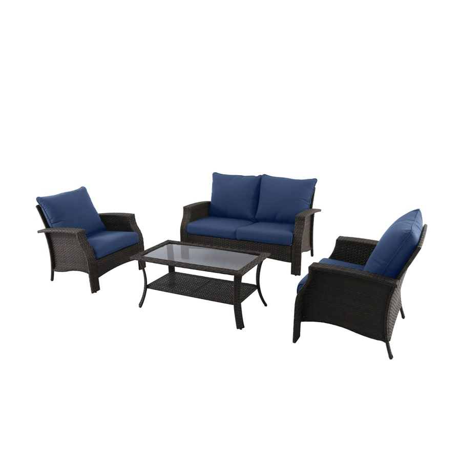 Style Selections 4-Piece Metal Frame Patio Conversation Set with