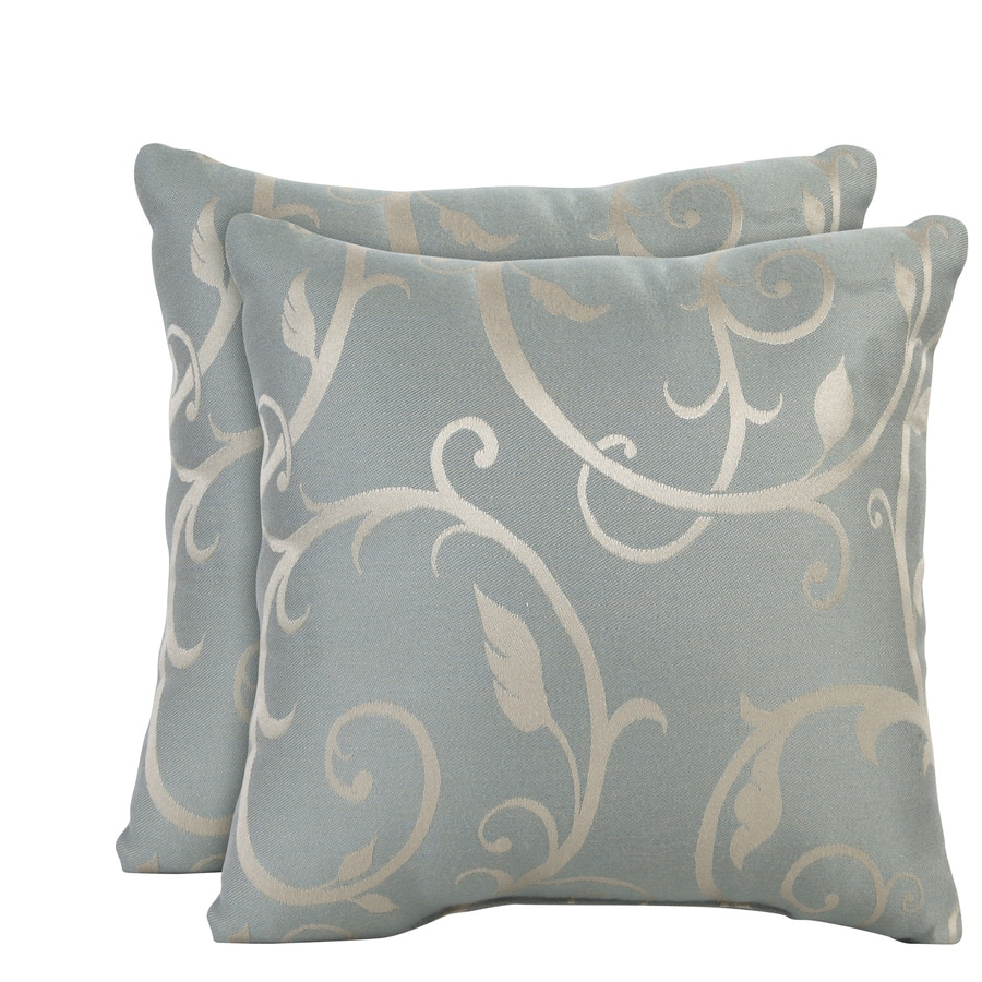 allen + roth Set of 2 Sunbrella Blue Haze UV-Protected Square Outdoor Decorative Pillows