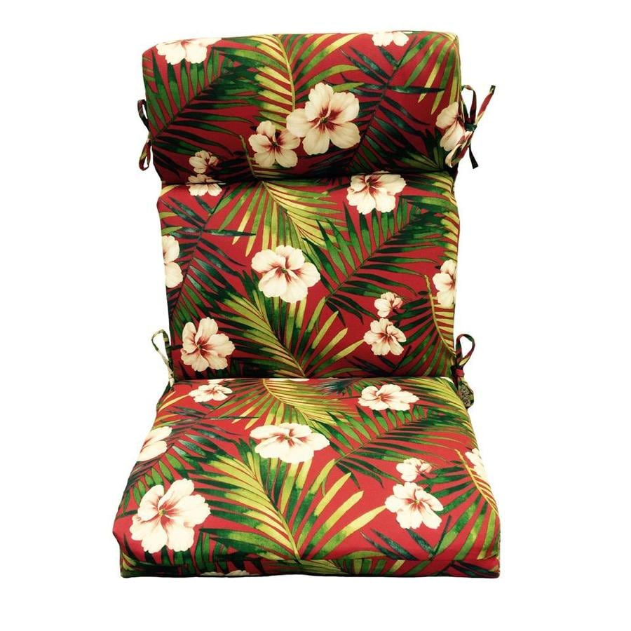 Garden Treasures Red Floral Cushion for High-Back Chair