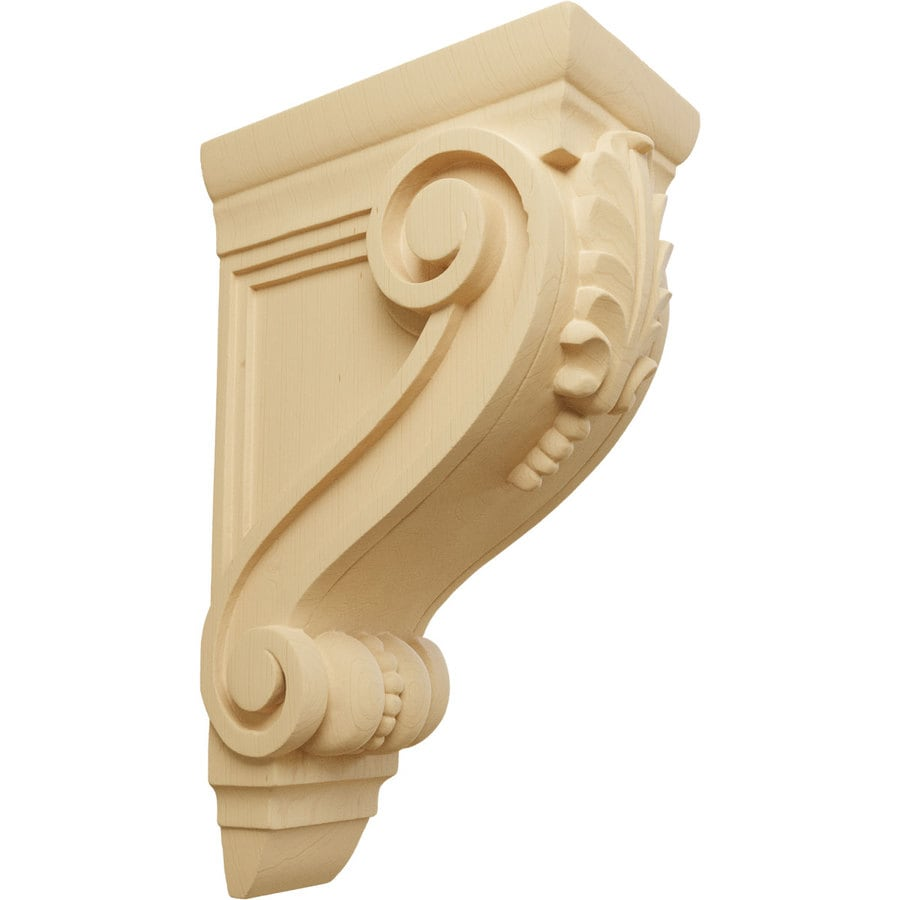 Ekena Millwork 4.75-in x 13.25-in Alder Fig Leaf Wood Corbel