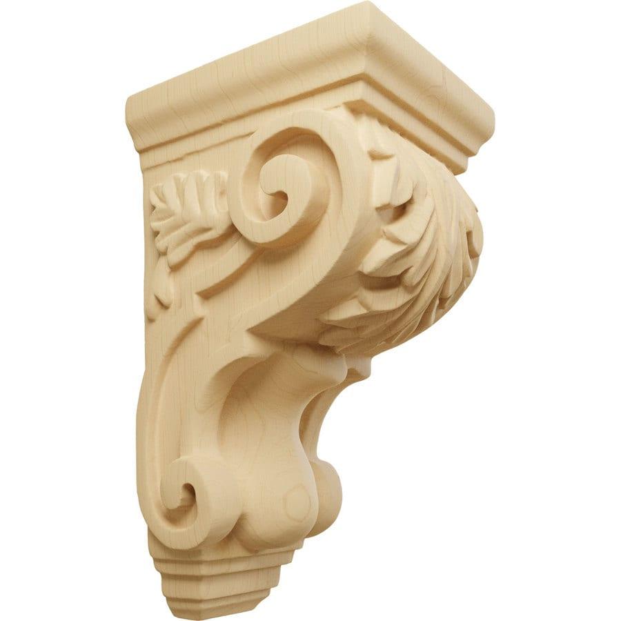 Ekena Millwork 3.5-in x 7-in Alder Acanthus Wood Corbel