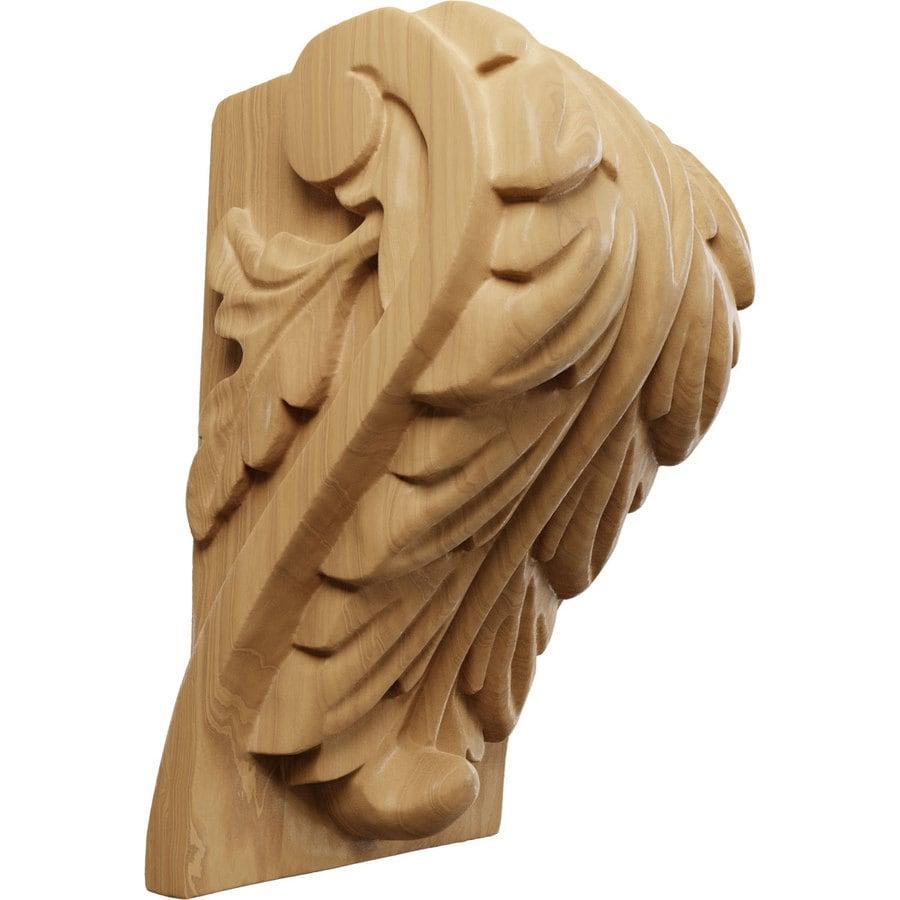 Ekena Millwork 3.75-in x 6-in Cherry Acanthus Wood Corbel