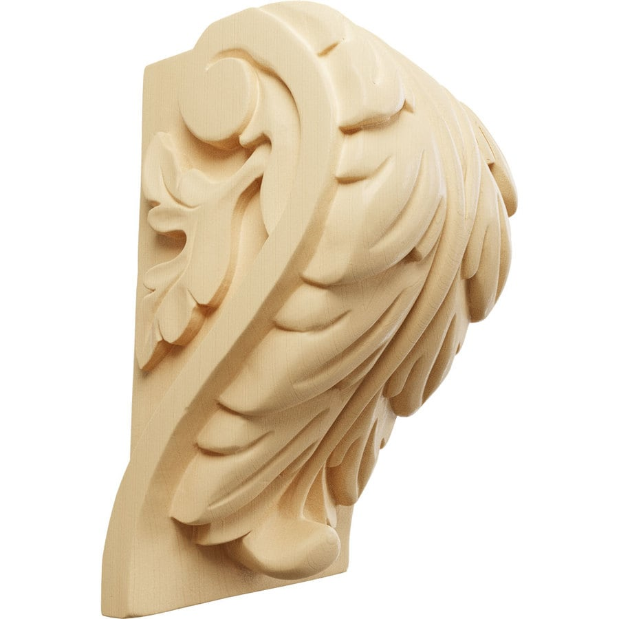 Ekena Millwork 4.5-in x 7-in Maple Acanthus Wood Corbel