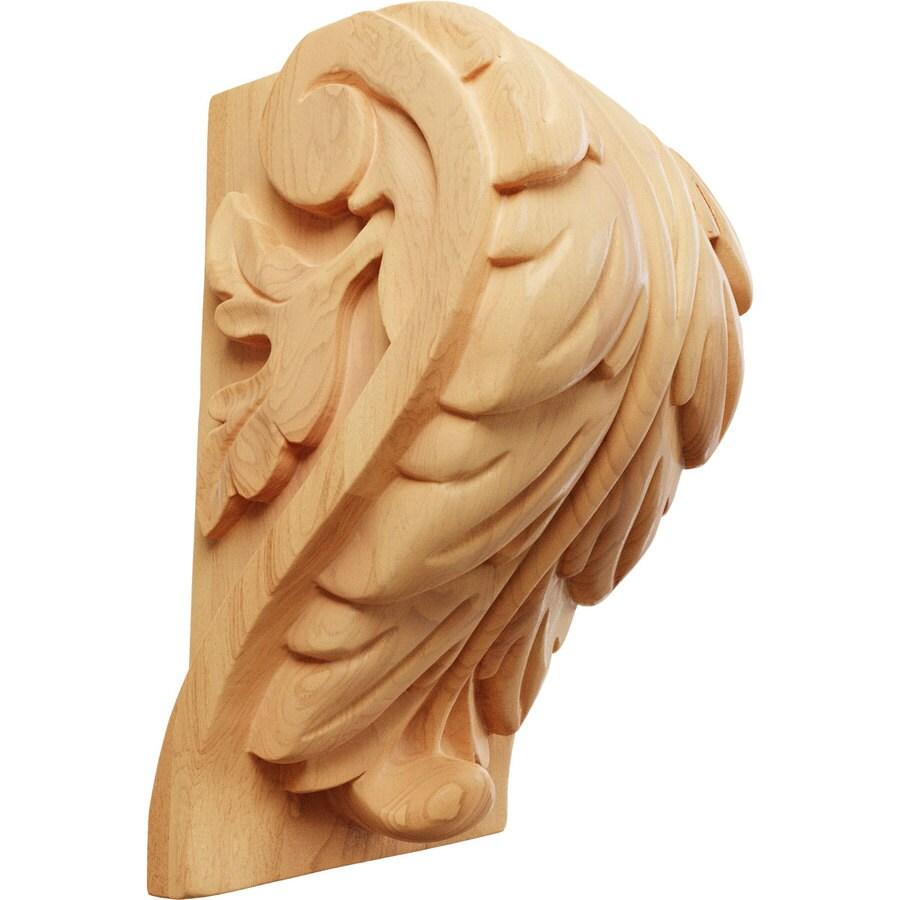 Ekena Millwork 4.5-in x 7-in Red Oak Acanthus Wood Corbel