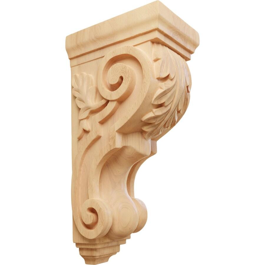 Ekena Millwork 5-in x 14-in Red Oak Acanthus Wood Corbel