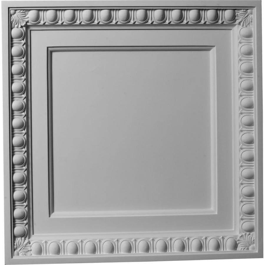 Ekena Millwork Egg and Dart Primed Patterned 3/4-in Drop Ceiling Tiles (Common: 24-in x 24-in; Actual: 24-in x 24-in)
