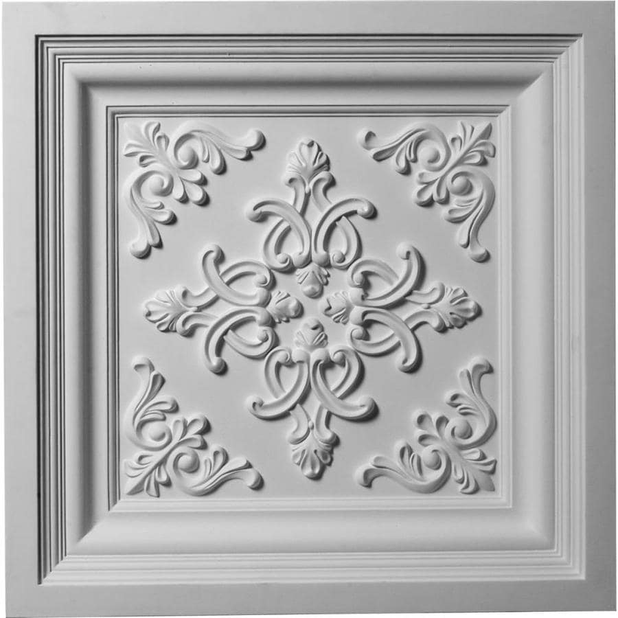 Ekena Millwork Kinsley Primed Patterned 3/4-in Drop Ceiling Tiles (Common: 24-in x 24-in; Actual: 24-in x 24-in)