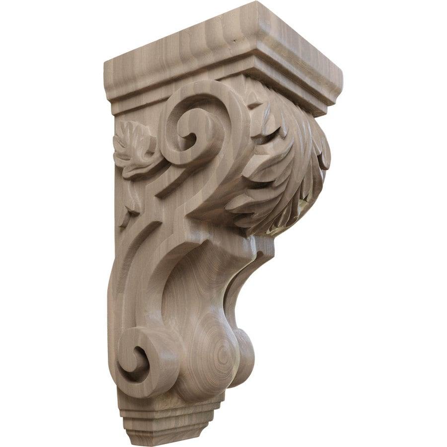 Ekena Millwork 4.5-in x 10-in Walnut Acanthus Wood Corbel