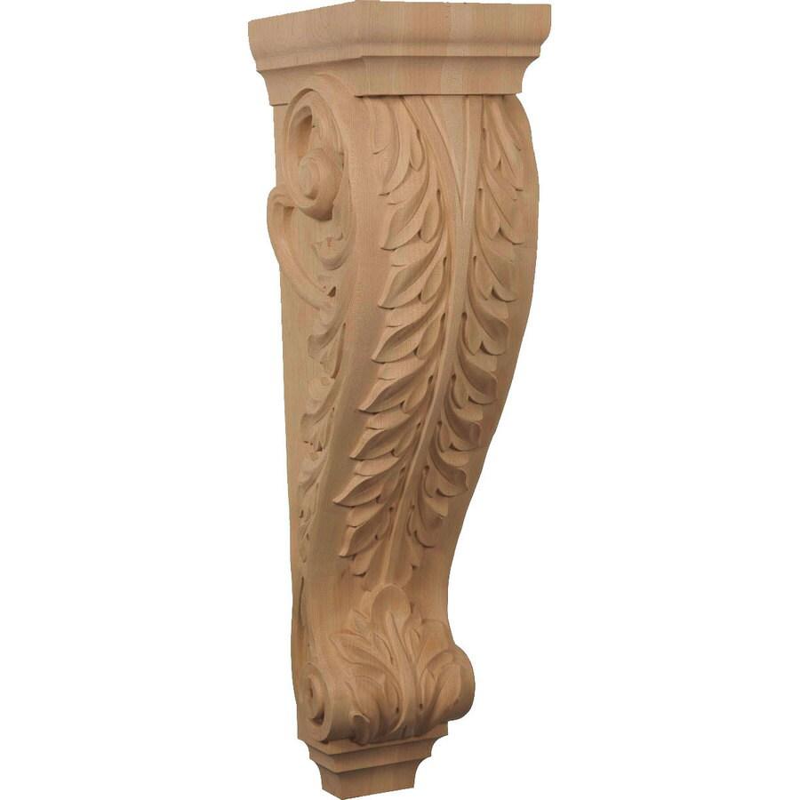 Ekena Millwork 8-in x 30-in Rubberwood Acanthus Wood Corbel