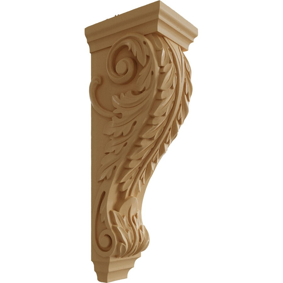 Ekena Millwork 6.5-in x 22-in Maple Acanthus Wood Corbel