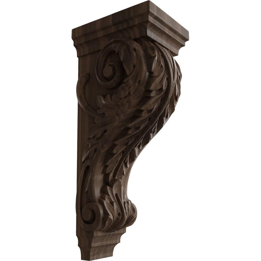 Ekena Millwork 6-in x 18-in Walnut Acanthus Wood Corbel