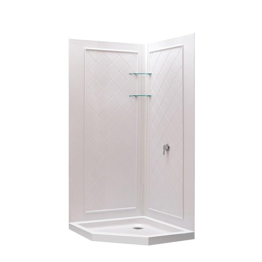 Shop DreamLine Shower Backwall Kit White Acrylic Wall And Floor Neo Angle 3 P