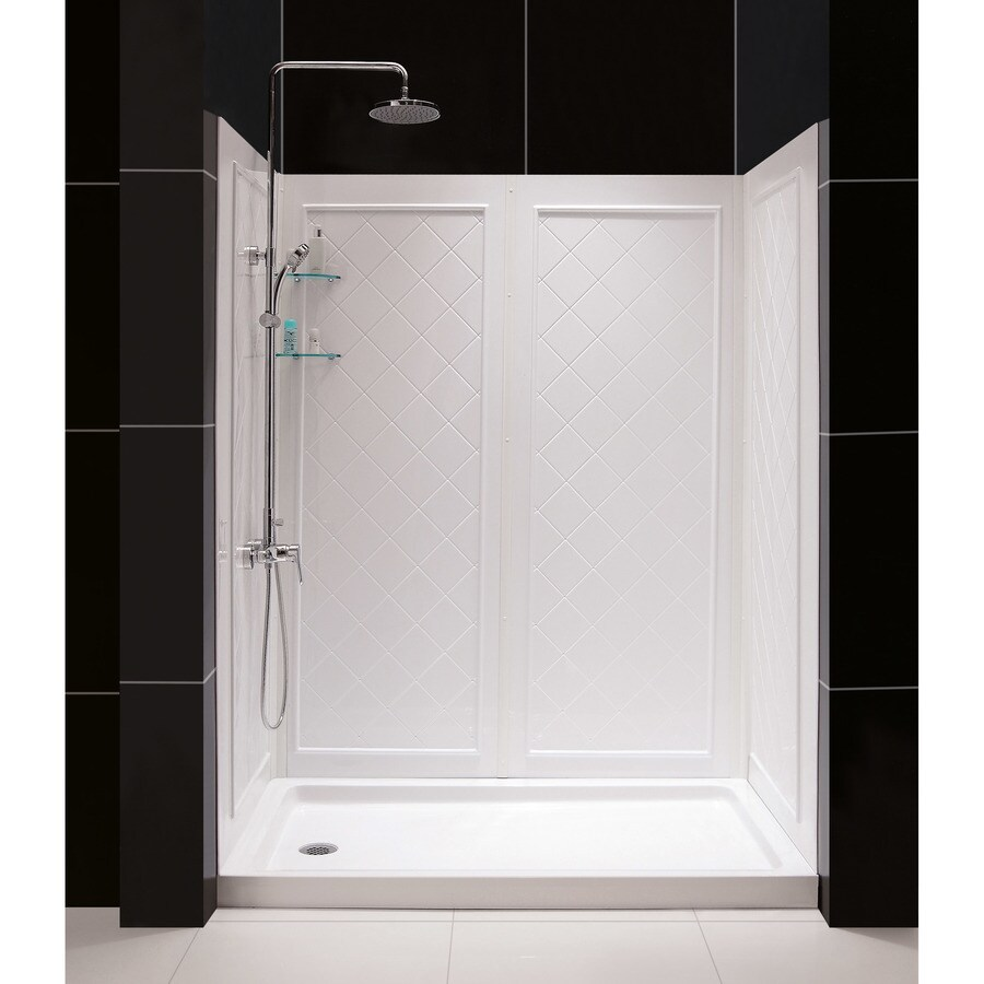 DreamLine Shower Base and Back Walls White Acrylic Wall Acrylic Floor 2-Piece Alcove Shower Kit (Common: 30-in x 60-in; Actual: 76.75-in X