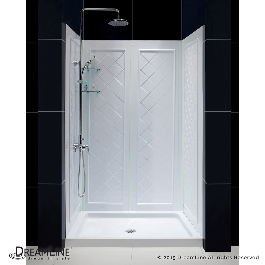 DreamLine Shower Base and Back Walls White Acrylic Wall Acrylic Floor 2-Piece Alcove Shower Kit (Common: 36-in x 48-in; Actual: 76.75-in X