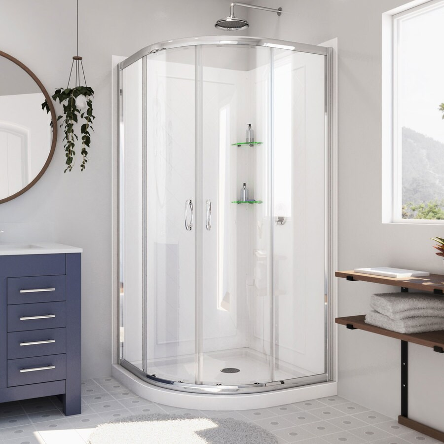 Prime White Acrylic Wall and Floor Round 3-Piece Corner Shower Kit (Actual: 76.75-in x 36-in x 36-in) Product Photo