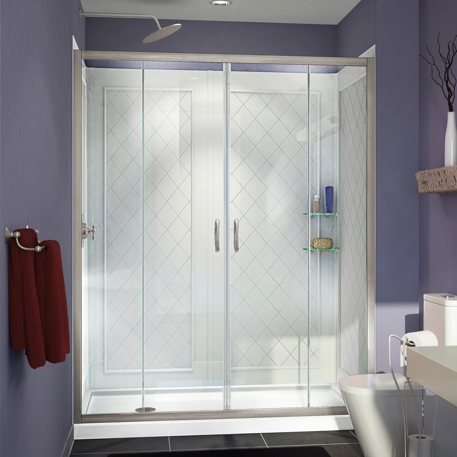 DreamLine Visions Brushed Nickel Acrylic Wall Acrylic Floor 3-Piece Alcove Shower Kit (Common: 36-in x 60-in; Actual: 76.75-in x 36-in x 60-in)