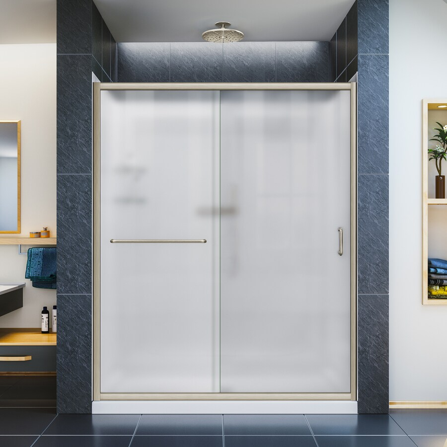 DreamLine Infinity-Z Brushed Nickel Acrylic Wall and Floor 3-Piece Alcove Shower Kit (Common: 34-in x 60-in; Actual: 76.75-in x 34-in x 60-in)