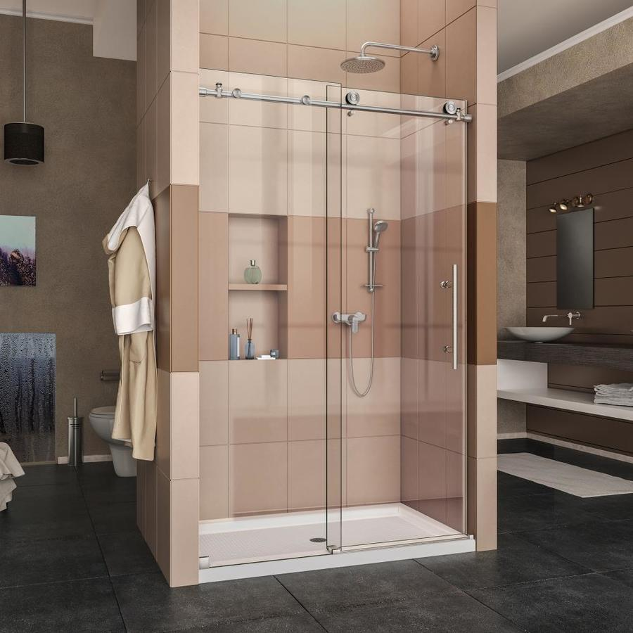 DreamLine Enigma-X Brushed Stainless Steel Acrylic Floor 2-Piece Alcove Shower Kit (Common: 36-in x 48-in; Actual: 78.75-in x 36-in x 48-in)