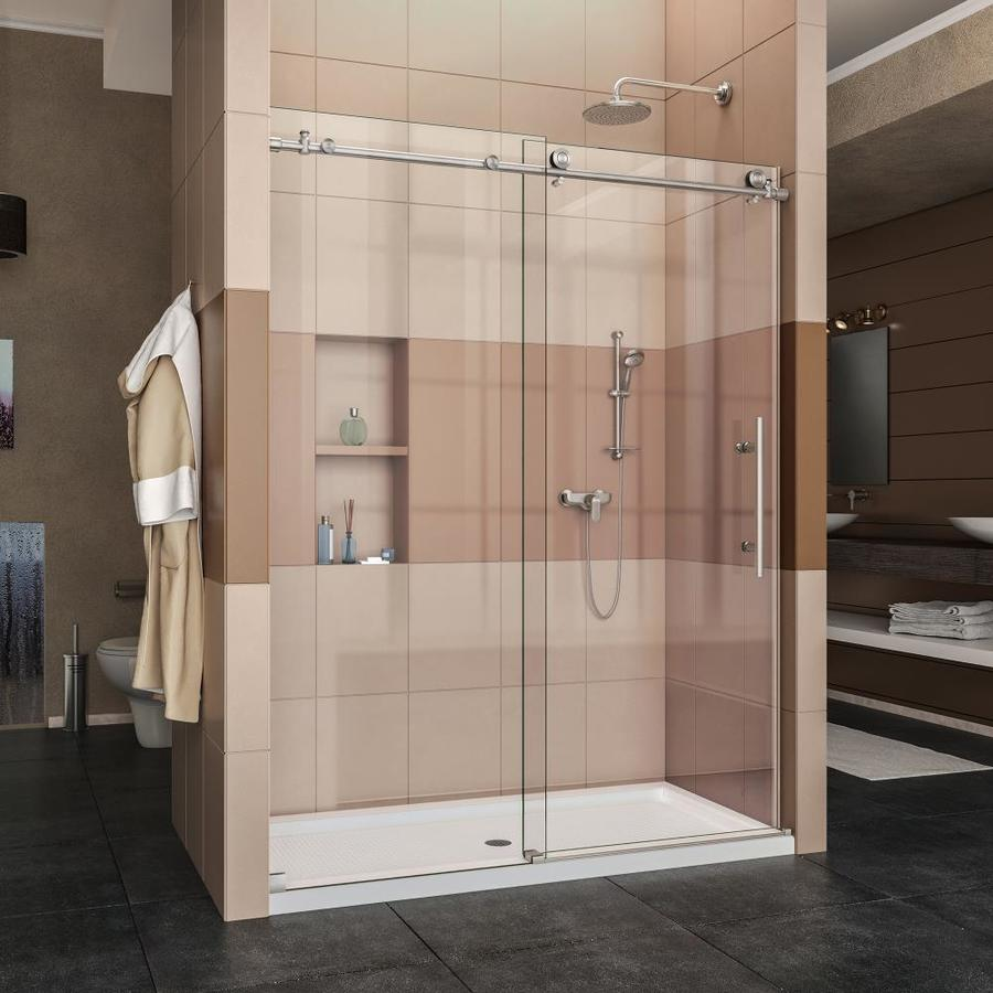 DreamLine Enigma-X Brushed Stainless Steel Acrylic Floor 2-Piece Alcove Shower Kit (Common: 34-in x 60-in; Actual: 78.75-in x 34-in x 60-in)