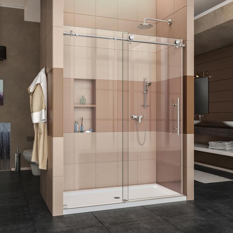 DreamLine Enigma-X Polished Stainless Steel Acrylic Floor 2-Piece Alcove Shower Kit (Common: 34-in x 60-in; Actual: 78.75-in x 34-in x 60-in)