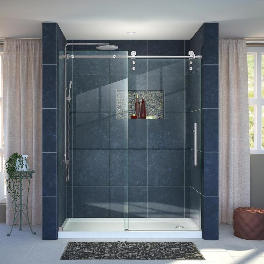 DreamLine Enigma-Z Brushed Stainless Steel Acrylic Floor 2-Piece Alcove Shower Kit (Common: 34-in x 60-in; Actual: 78.75-in x 34-in x 60-in)