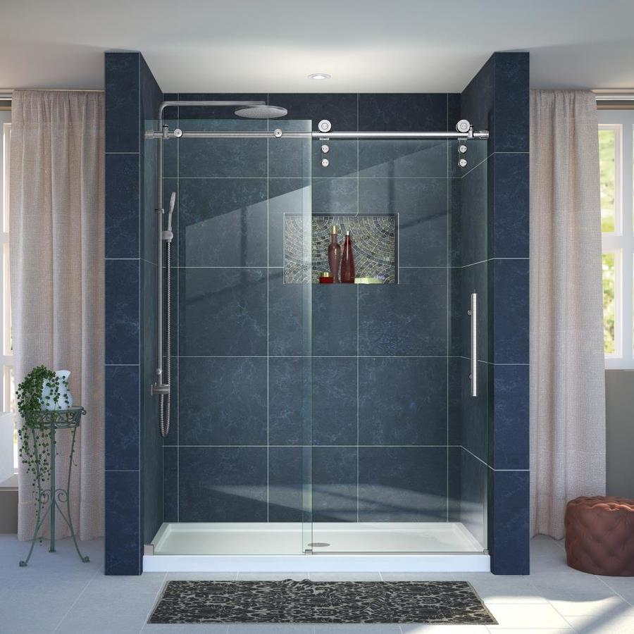 DreamLine Enigma-Z Brushed Stainless Steel Acrylic Floor 2-Piece Alcove Shower Kit (Common: 36-in x 60-in; Actual: 78.75-in x 36-in x 60-in)