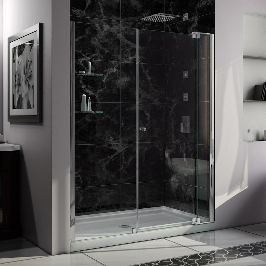 DreamLine Allure Chrome Acrylic Floor 2-Piece Alcove Shower Kit (Common: 36-in x 48-in; Actual: 75.75-in x 36-in x 48-in)