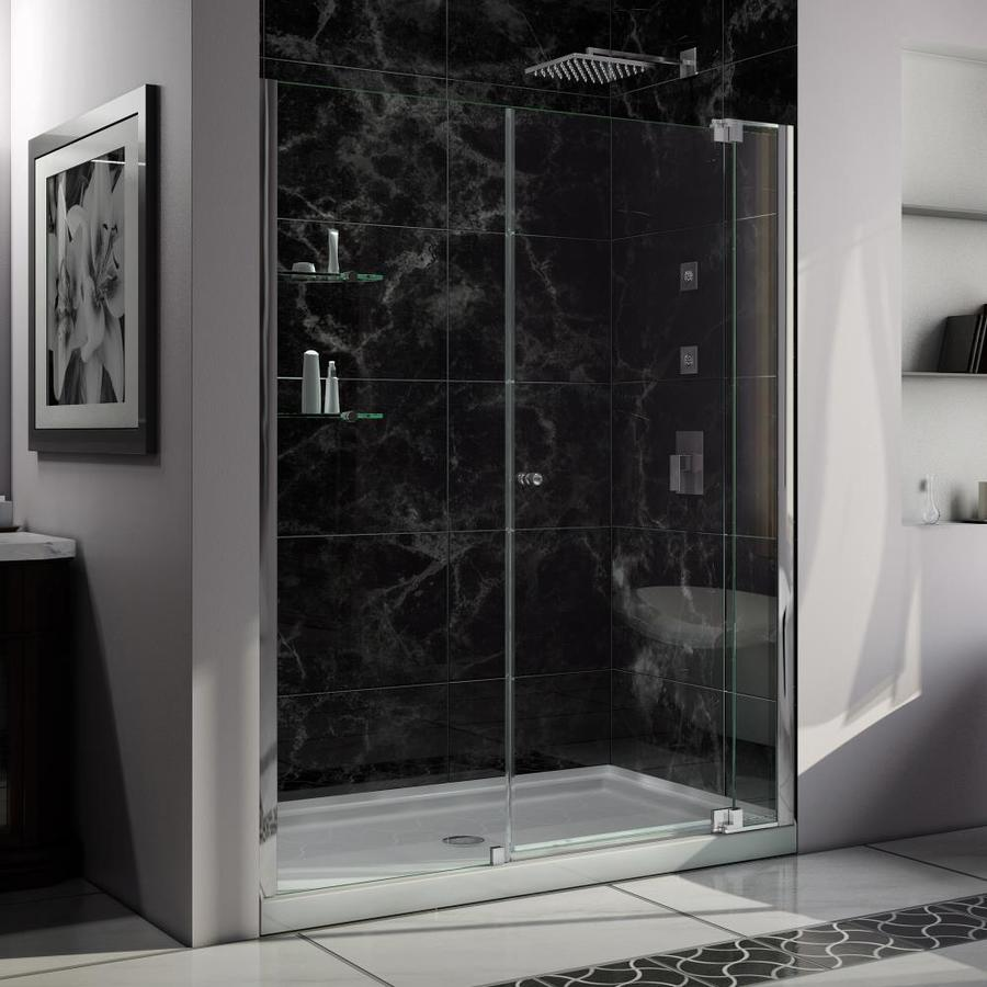 DreamLine Allure Chrome Acrylic Floor 2-Piece Alcove Shower Kit (Common: 34-in x 60-in; Actual: 75.75-in x 34-in x 60-in)