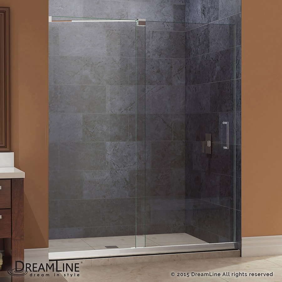 DreamLine Mirage Chrome Acrylic Floor 2-Piece Alcove Shower Kit (Common: 36-in x 48-in; Actual: 74.75-in x 36-in x 48-in)