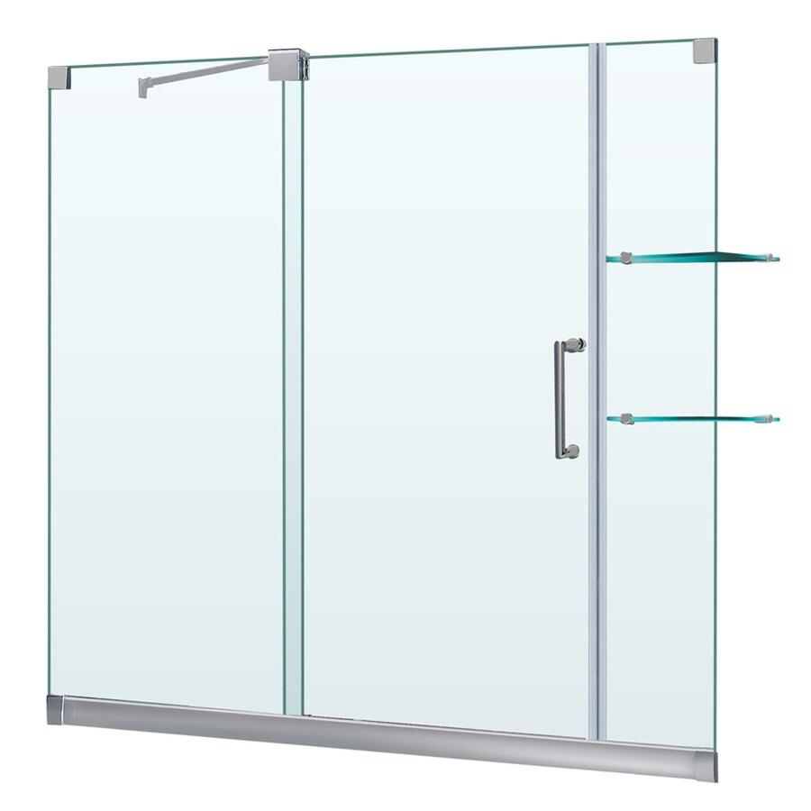 DreamLine Mirage Brushed Nickel Acrylic Floor 2-Piece Alcove Shower Kit (Common: 36-in x 60-in; Actual: 74.75-in x 36-in x 60-in)
