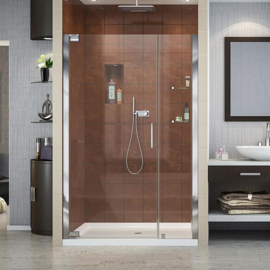 DreamLine Elegance Chrome Acrylic Floor 2-Piece Alcove Shower Kit (Common: 36-in x 48-in; Actual: 74.75-in x 36-in x 48-in)