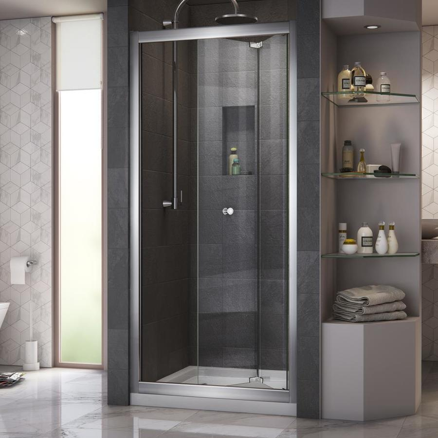DreamLine Butterfly Chrome Acrylic Floor 2-Piece Alcove Shower Kit (Common: 32-in x 32-in; Actual: 74.75-in x 32-in x 32-in)