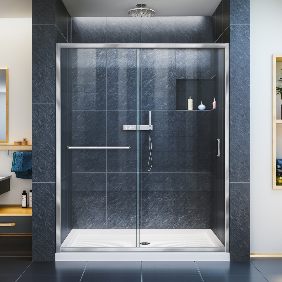 DreamLine Infinity-Z Chrome Acrylic Floor 2-Piece Alcove Shower Kit (Common: 34-in x 60-in; Actual: 74.75-in x 34-in x 60-in)